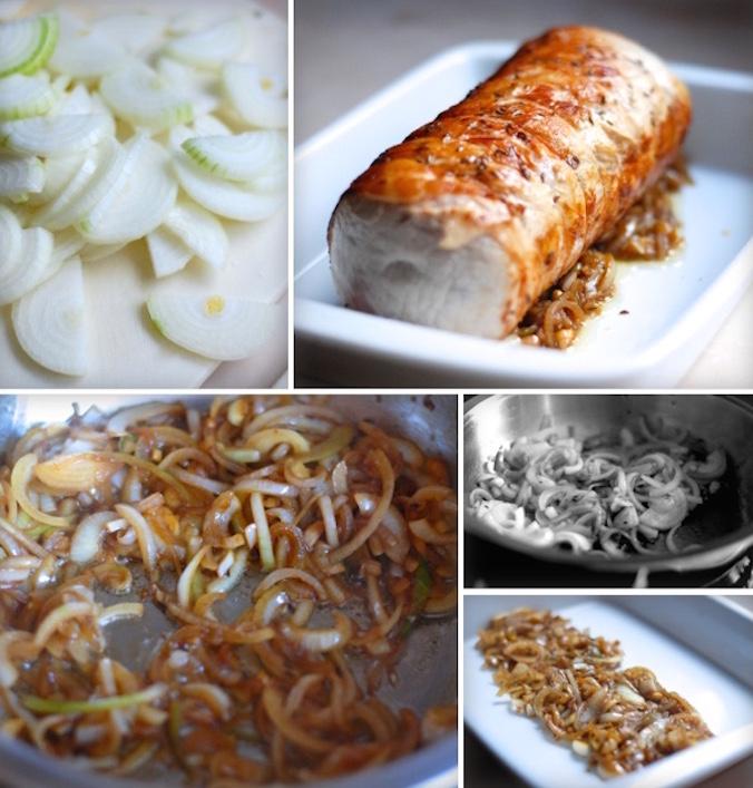 vepřová pečeně recept - opečení cibule do základu