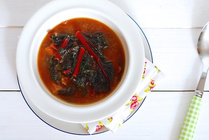 mangoldová polévka s amarantem