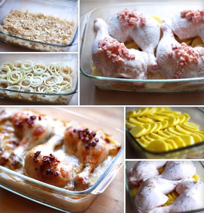 vrstvení do pekáče zelí cibule brambory kuře