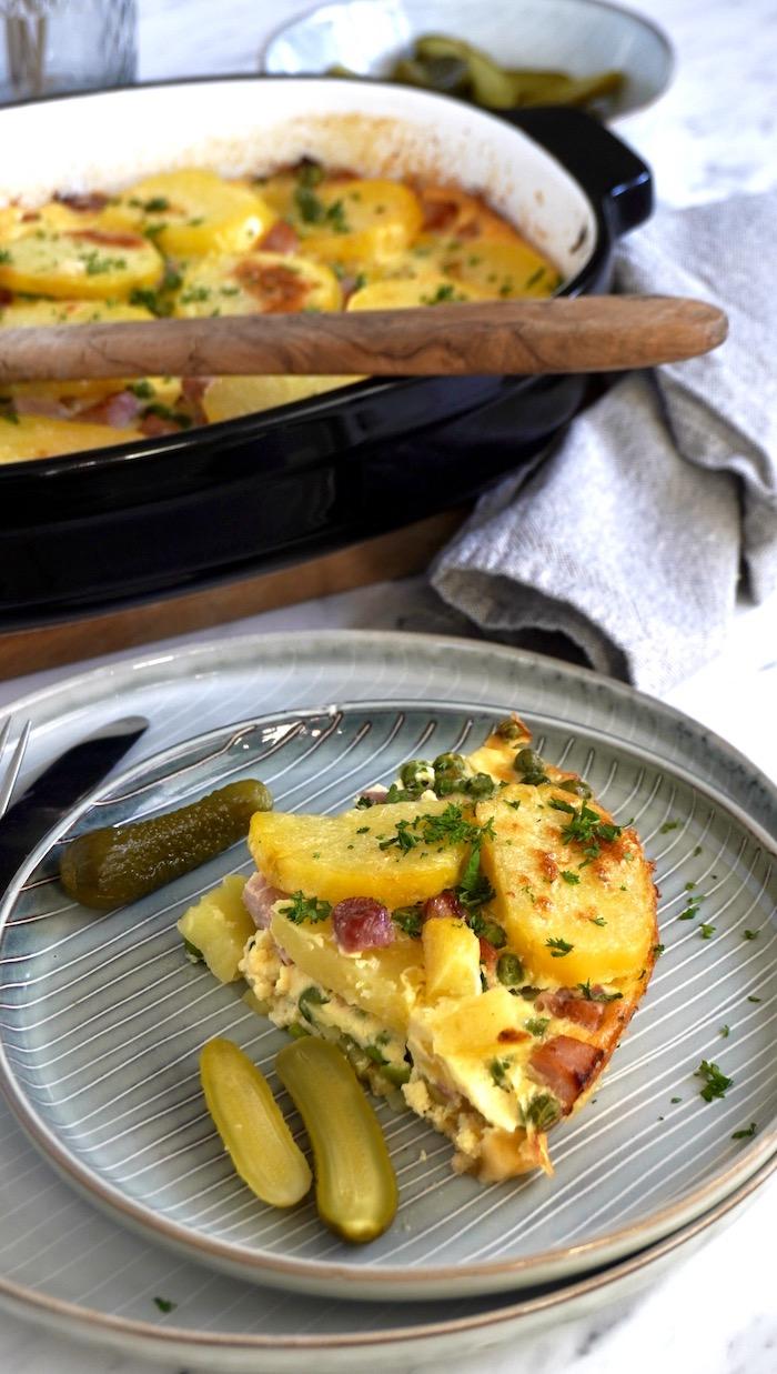 francouzské brambory s uzeným masem