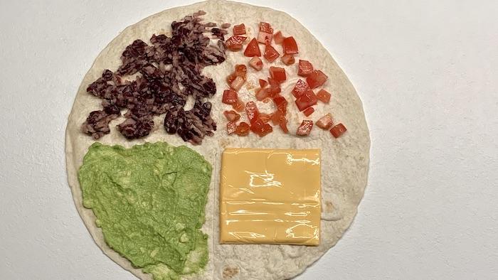 tortilla wrap krok 1